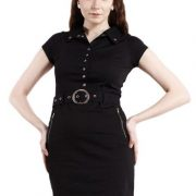 BLACK DRESS WITH RIVETS AND ZIPPERS-4130