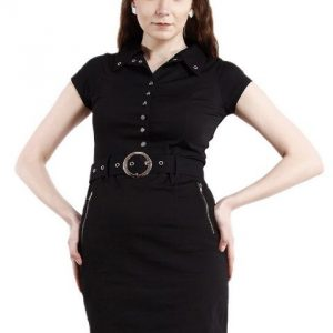 BLACK DRESS WITH RIVETS AND ZIPPERS-0