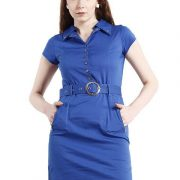 BLUE DRESS WITH RIVETS AND ZIPPERS-4122