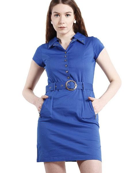 BLUE DRESS WITH RIVETS AND ZIPPERS-0