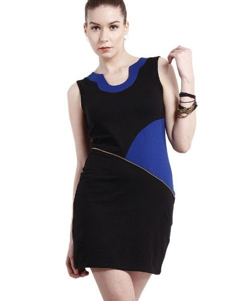 BLACK AND BLUE PANELLED SHEATH DRESS-0