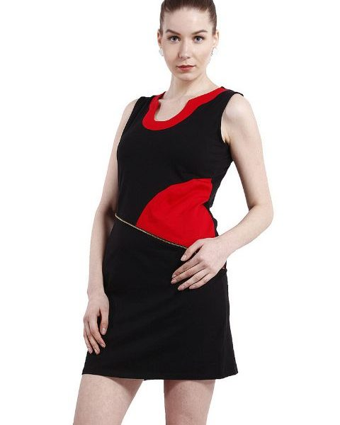 BLACK AND RED PANELLED SHEATH DRESS-0