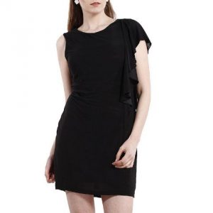 BLACK DRESS WITH RUFFLED PANELLING-0