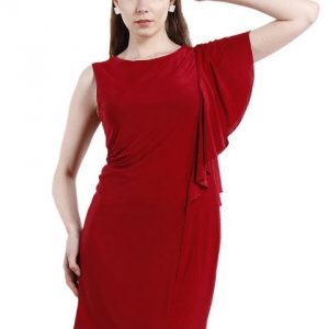MAROON DRESS WITH RUFFLED PANELLING-0