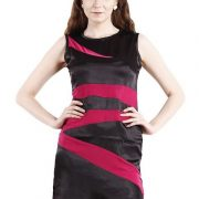 BLACK DRESS WITH MAGENTA STRIPES-4058