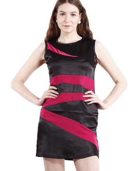BLACK DRESS WITH MAGENTA STRIPES-0