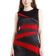 BLACK DRESS WITH RED STRIPES-4050