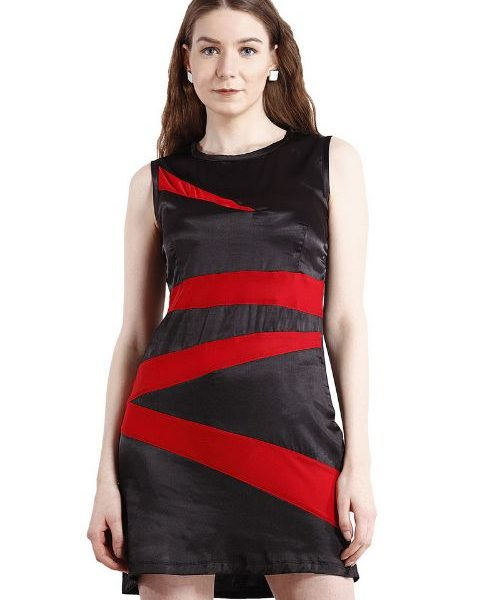 BLACK DRESS WITH RED STRIPES-0