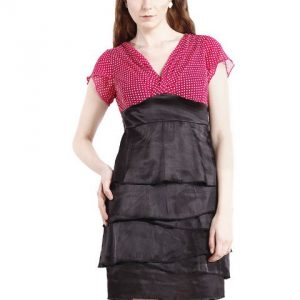 EMPIRE LINE DRESS WITH POLKA DOT PRINT-0