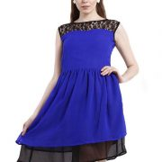 BLUE LACE YOKE FIT AND FLAIR DRESS-3994