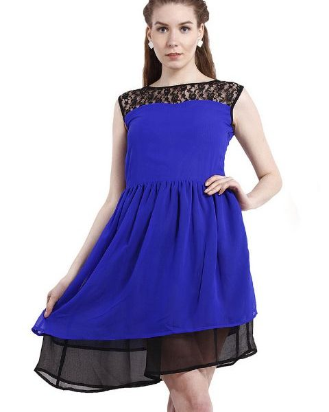 BLUE LACE YOKE FIT AND FLAIR DRESS-0