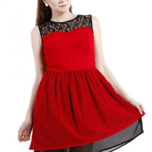RED LACE YOKE FIT AND FLAIR DRESS-0