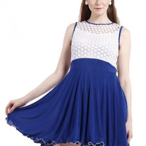 WHITE AND BLUE LACE FIT AND FLAIR DRESS WITH CURLY HEM DETAIL-0