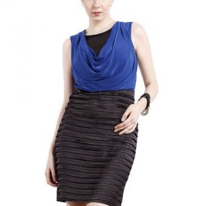 BLUE AND BLACK COWL NECK DRESS-0
