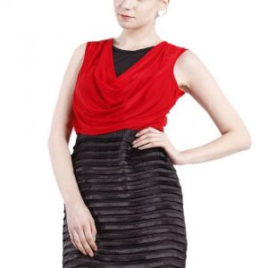 RED AND BLACK COWL NECK DRESS-0