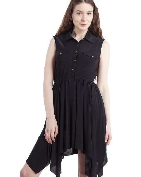 BLACK HANDKERCHIEF HEM FIT AND FLAIR DRESS-0