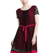 A LINE BLACK AND MAGENTA LACE DRESS-3923