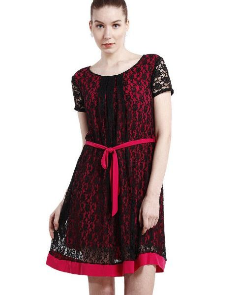 A LINE BLACK AND MAGENTA LACE DRESS-0