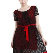 A LINE BLACK AND RED LACE DRESS-3915