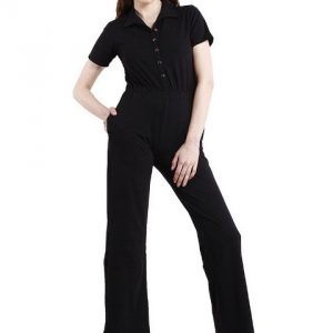 BLACK JUMPSUIT WITH COLLAR-0