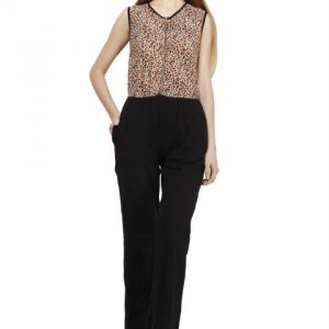 BROWN AND BLACK ANIMAL PRINT ZIPPER JUMPSUIT-0