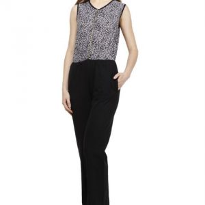 GREY AND BLACK ANIMAL PRINT ZIPPER JUMPSUIT-0