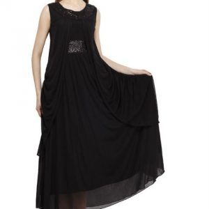 BLACK MAXI DRESS WITH SEQUIN DETAIL-0
