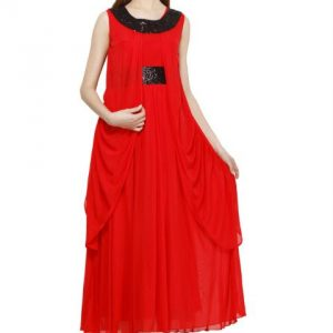 RED MAXI DRESS WITH SEQUIN DETAIL-0