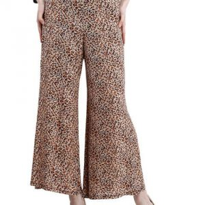 BROWN AND BLACK ANIMAL PRINT PALAZZO TROUSERS-0