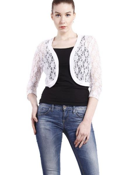 WHITE LACE SHRUG-0