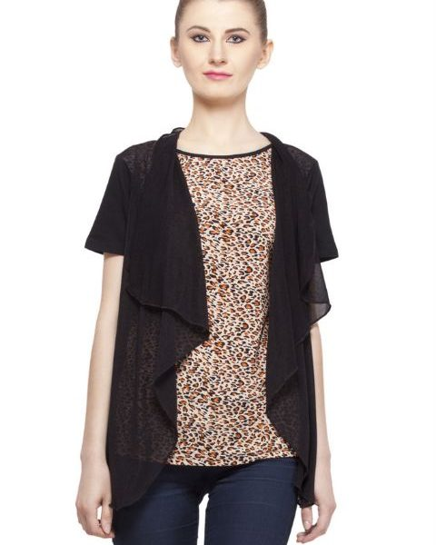 BROWN AND BLACK ANIMAL PRINT TOP-0