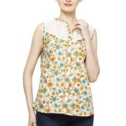 CREAM COLORED AND ORANGE PRINTED TOP-3810
