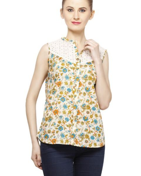 CREAM COLORED AND ORANGE PRINTED TOP-0