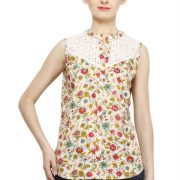 CREAM COLORED AND PINK PRINTED TOP-3802