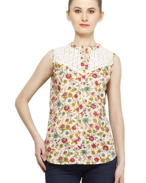 CREAM COLORED AND PINK PRINTED TOP-0