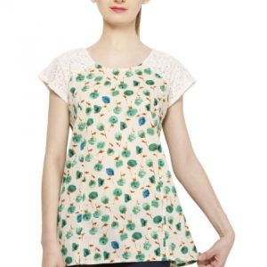 OFFWHITE AND GREEN FLORAL PRINT TOP-0
