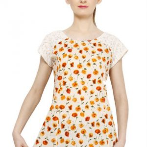 OFFWHITE AND ORANGE FLORAL PRINT TOP-0