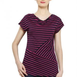 MAGENTA AND BLACK STRIPED TOP-0