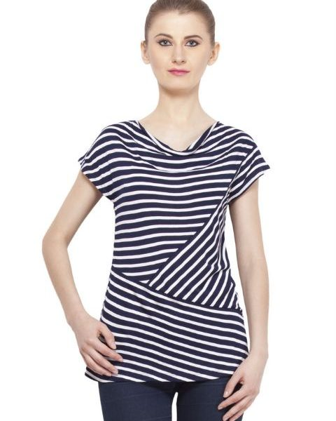 NAVY AND WHITE STRIPED TOP-0
