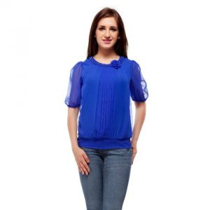 Peptrends Blue Beaded Top-0