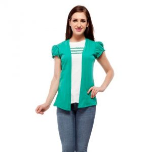 Peptrends Green and White Lace Top-0