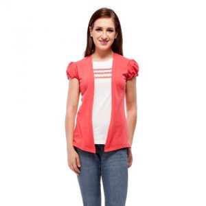 Peptrends Coral Pink and White Lace Top-0