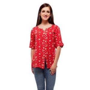 Peptrends Red Floral Top-0