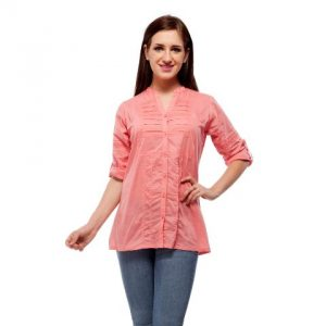 Peptrends Coral Pink Pin Tucks Top-0