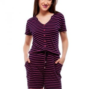 Peptrends magenta and black striped jumpsuit-0