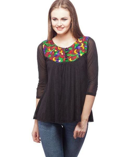 Peptrends Black Embroidered Net top-0