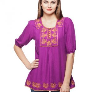 Peptrends Purple Embroidered top-0