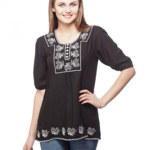 Peptrends Black Embroidered top-0