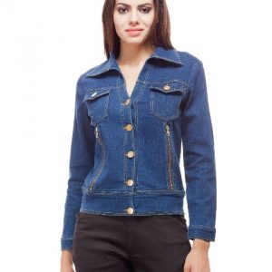 Peptrends Denim Jacket with zipper side pockets-0