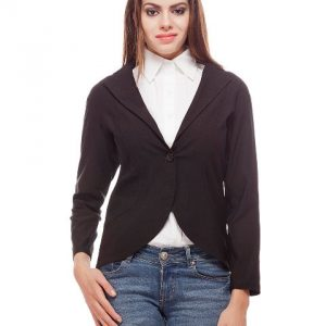 Peptrends Single button black blazer-0